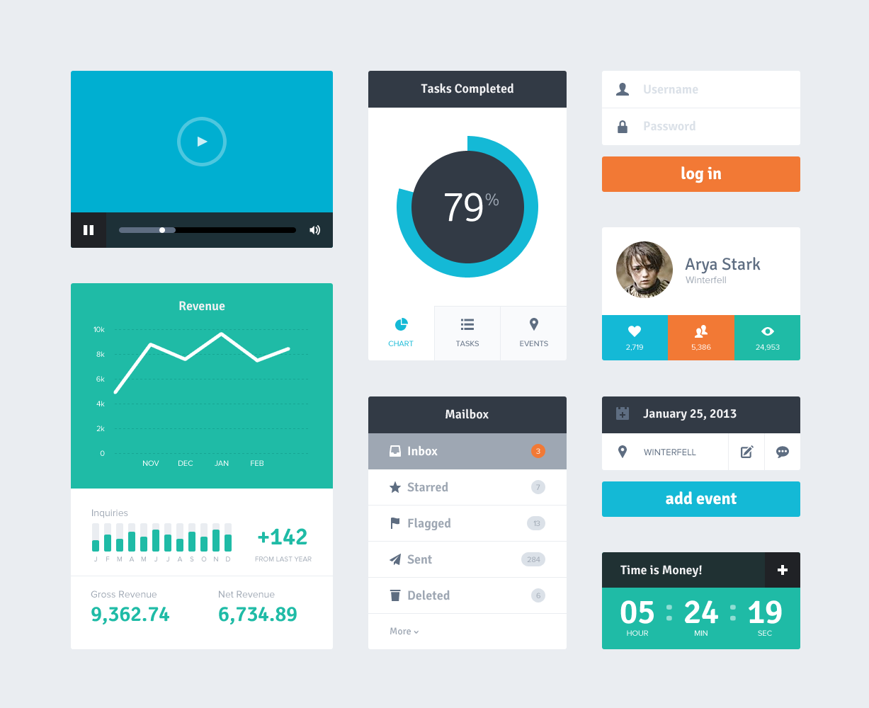 Flat UI Design Kit PSD