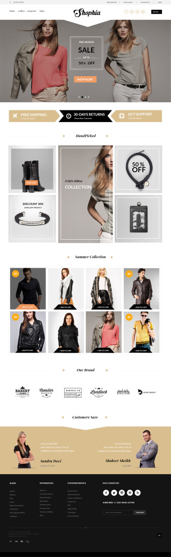 Shophia E-comerce PSD