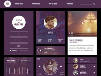 Free Music UI Kit PSD