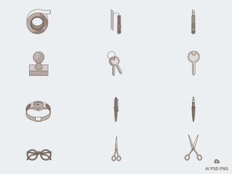 New Free Set of 12 Tone Stationary Icons