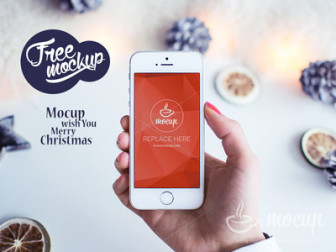 Free PSD Mockup iPhone 5s White Christmas